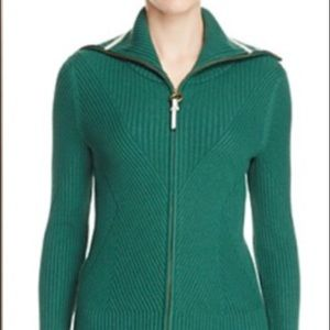 Tory Burch Nolan green turtleneck zip sweater